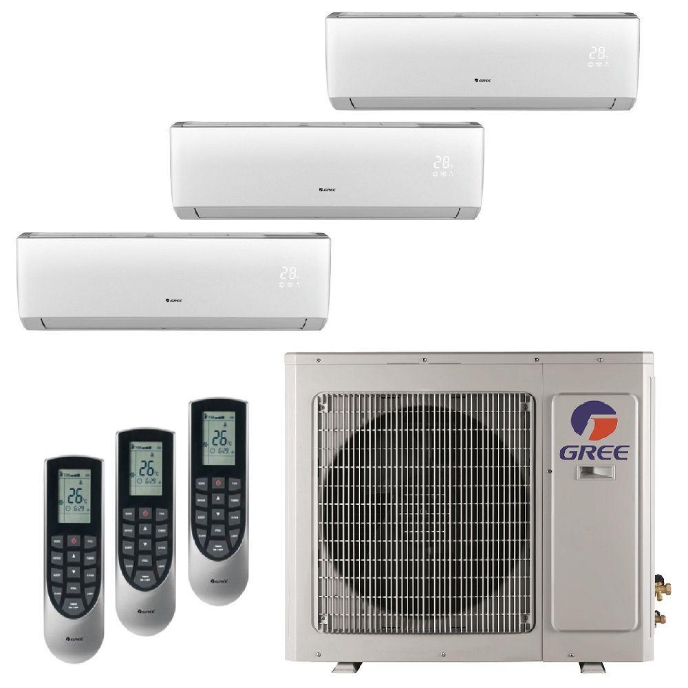 Gree Multi 21 Zone 29000 Btu Ductless Mini Split Air Conditioner With Heat Inverter And Remote 230 Volt 60hz Multi30hp303 The Home Depot