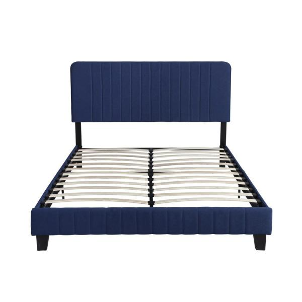Noble House Bradbury Contemporary Queen-Size Navy Blue Fully Upholstered Bed