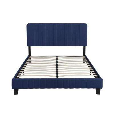 Bradbury Contemporary Queen-Size Navy Blue Fully Upholstered Bed Frame