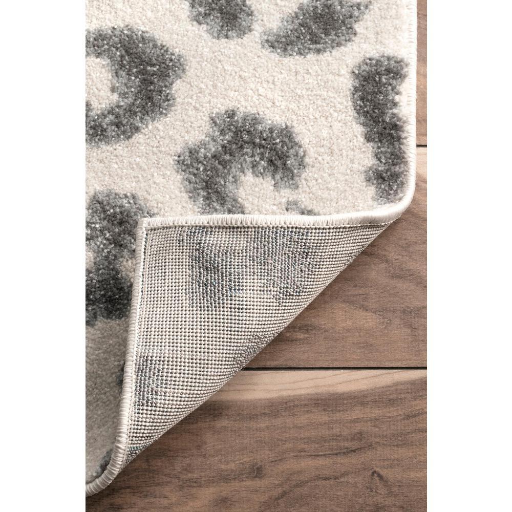 Leopard Print Gray 2 ft. x 10 ft. Runner Rug