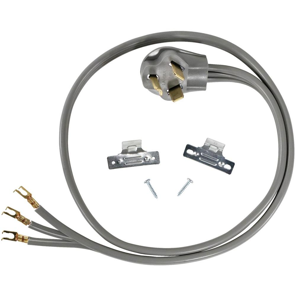 CERTIFIED APPLIANCE ACCESSORIES 4 ft. 10/3 3-Wire Open-Eyelet 30-Amp Dryer Cord For years, licensed plumbers, electricians, and appliance installers have relied on CERTIFIED APPLIANCE ACCESSORIES for their power cords, hoses, and connectors. Now you can too. Enjoy the convenience offered by this dryer cord from CERTIFIED APPLIANCE ACCESSORIES. Its flexibility and durability ensure reliable connections for your next home installation project. This high-quality dryer cord has been thoroughly tested and is backed by a 5-year limited warranty. Follow the illustrated, step-by-step directions included in the packaging. Always consult your appliances installation instructions. Check your appliances manual for the correct specifications to ensure this is the right cord for you. Thank you for choosing CERTIFIED APPLIANCE ACCESSORIES Your Appliance Connection Solution.