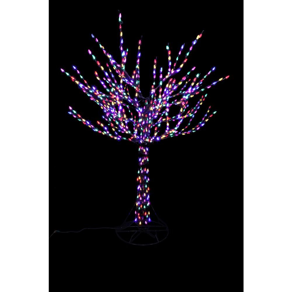home accents holiday 96 in led pre lit bare branch tree with multicolor lights - Home Depot Christmas Decorations For The Yard