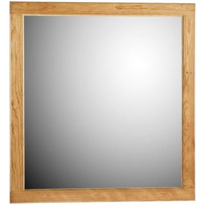 Ultraline 30 in. W x 32 in. H Framed Rectangular Bathroom Vanity Mirror in Natural alder finish