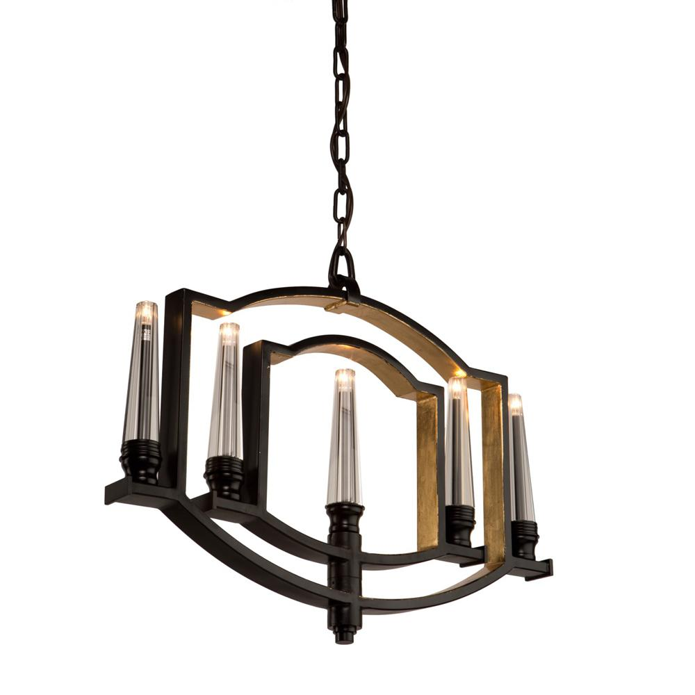5-Light Oil Rubbed Bronze and Gold Leaf Chandelier
