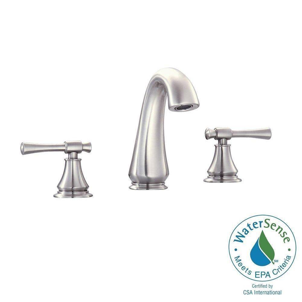 Triton 8 in. Widespread 2-Handle Mid-Arc Bathroom Faucet in Brushed Nickel