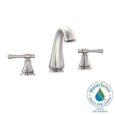 Triton 8 in. Widespread 2-Handle Mid-Arc Bathroom Faucet in Brushed Nickel with Drain