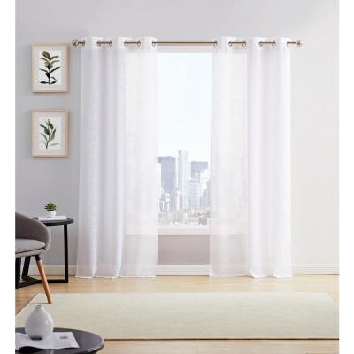 Hannah 38 in. W x 84 in. L Semi Sheer Grommet Window Panel Pair in White (2-Pack)