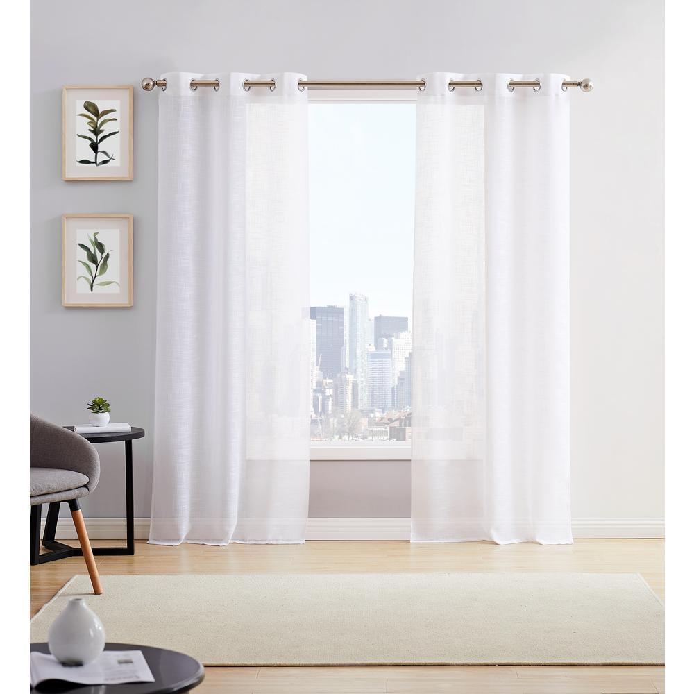 Hannah 38 in. W x 84 in. L Semi Sheer Grommet Window Panel Pair in White (2-Pack)