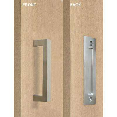 Rectangular 8 in. Brushed Satin Stainless Steel Ladder Pull and Flush Sliding Barn Door Handleset