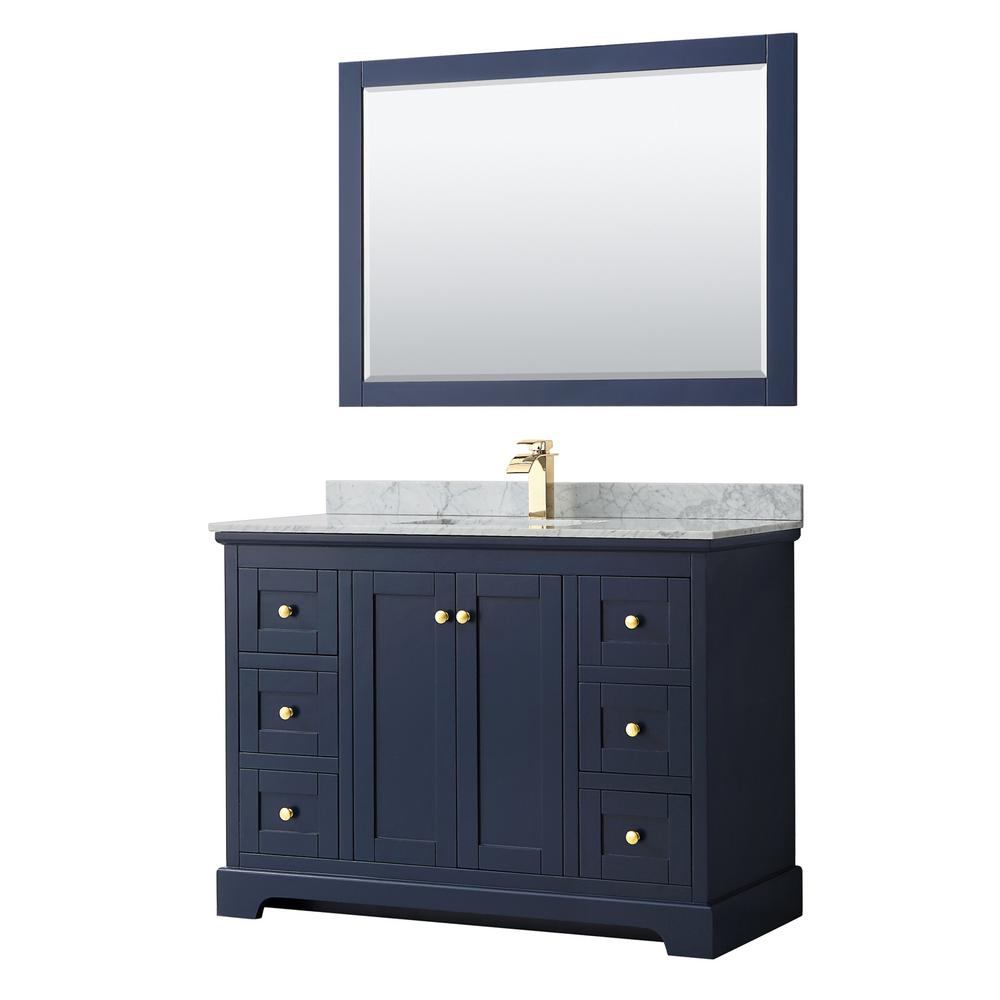 Wyndham Collection Avery 48 in. W x 22 in. D Bath Vanity in Dark Blue with Marble Vanity Top in White Carrara with White Basin and Mirror