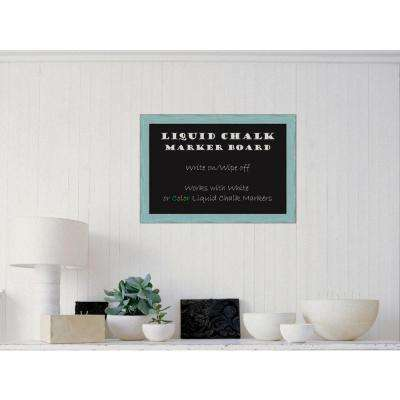Sky Blue Rustic Wood 27 in. W x 19 in. H Framed Liquid Chalk Marker Board