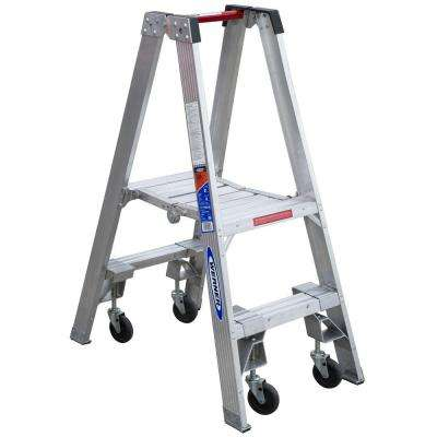 2 ft. Aluminum Platform Step Ladder with Casters 300 lb. Load Capacity Type IA Duty Rating