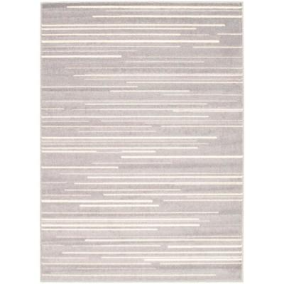 Fika Silver-Cream 5 ft. 3 in. x 7 ft. 3 in. Border Area Rug