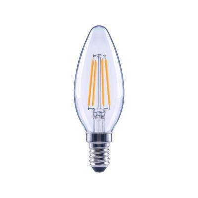 40-Watt Equivalent B11 Candle Dimmable Energy Star Clear Glass Filament Vintage LED Light Bulb Soft White (48-Pack)