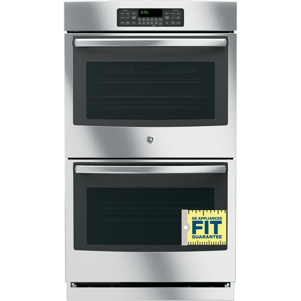 Ge 30 In Double Electric Wall Oven Self Cleaning With Steam Stainless Steel
