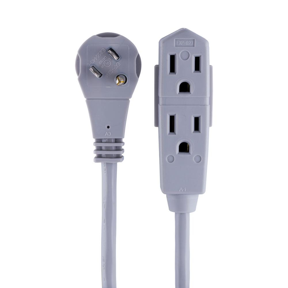 GE 25 ft. 3-Outlet 16/3 Grounded Office Extension Cord with Right Angle Plug in Gray, Gray/25 ft. cord Extend the reach of your office and small home electronics with the 25 ft. Grounded Office Cord with Right Angle Plug from GE. Equipped with three grounded outlets, the extension cord is perfect when you're in need of a few extra outlets and its low-profile, right angle plug keeps it close to the wall and out of the way. The 3-wire, 16-Gauge extension cord is ideal for overhead projectors, video conferencing equipment, speaker phones, computer equipment and more. The GE Grounded Office Cord with Right Angle Plug is intended for indoor use and should be fully extended before using. This product is UL listed and backed by a 90-day limited warranty. Color: Gray/25 ft. cord.