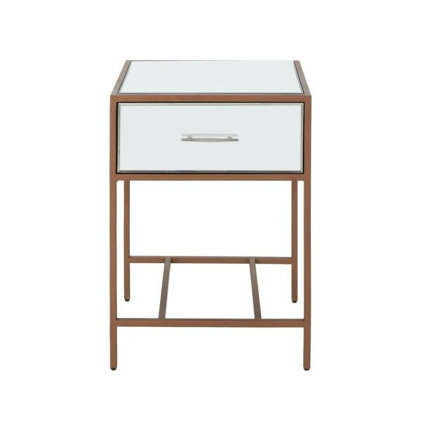 Noble House Kimora Modern Brown Iron and Faux Wood Side Table