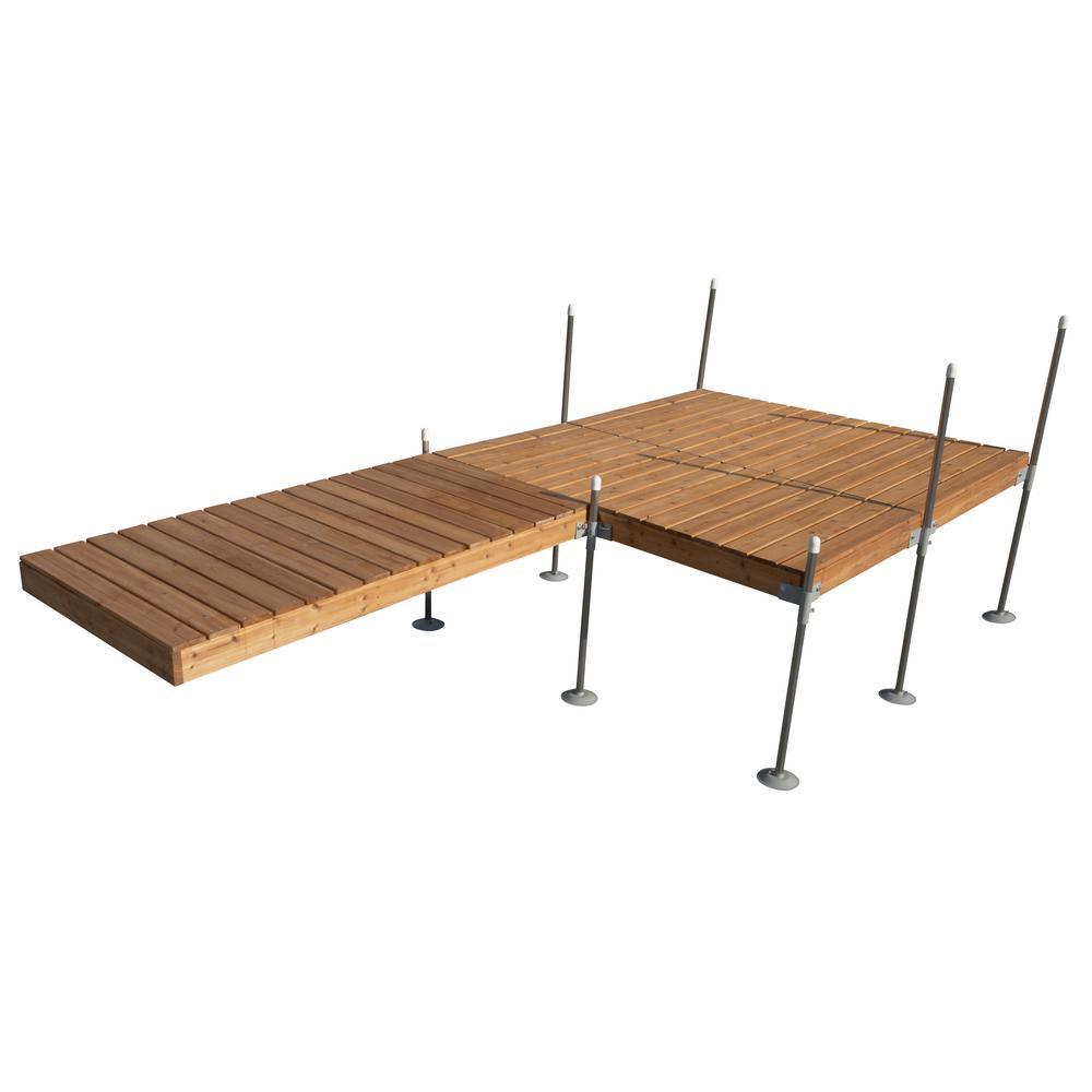 Tommy Docks 16 ft. L-Style with 8 ft. X 8 ft. Platform Section Cedar Complete Dock Package