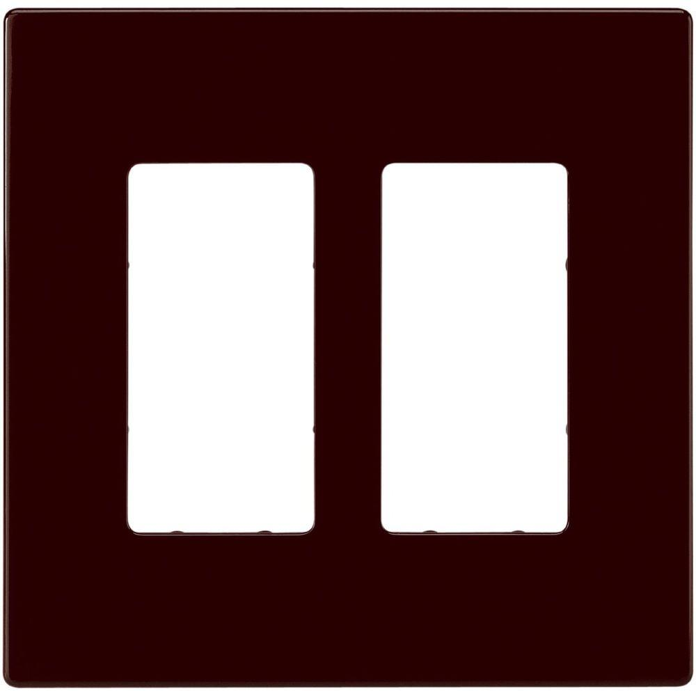 Eaton 2 Switch Decorator Duplex Nylon Wall Plate - Brown