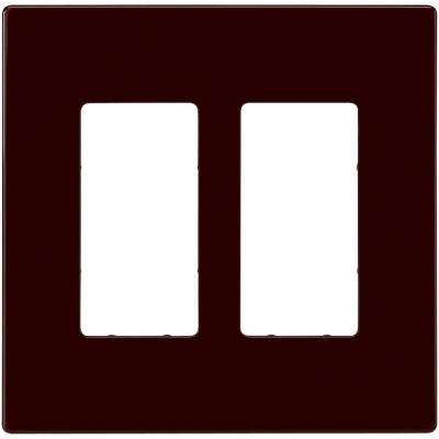 2 Switch Decorator Duplex Nylon Wall Plate - Brown