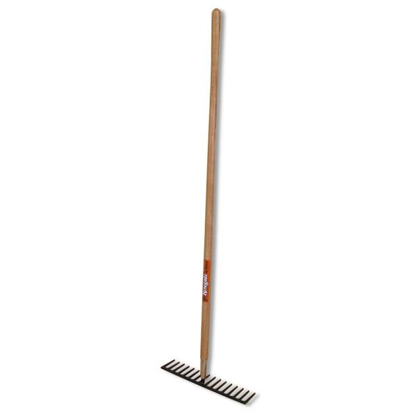16.75 in. Tine Level Head Rock Rake with Forged Head and 60 in. Ash Wood Handle