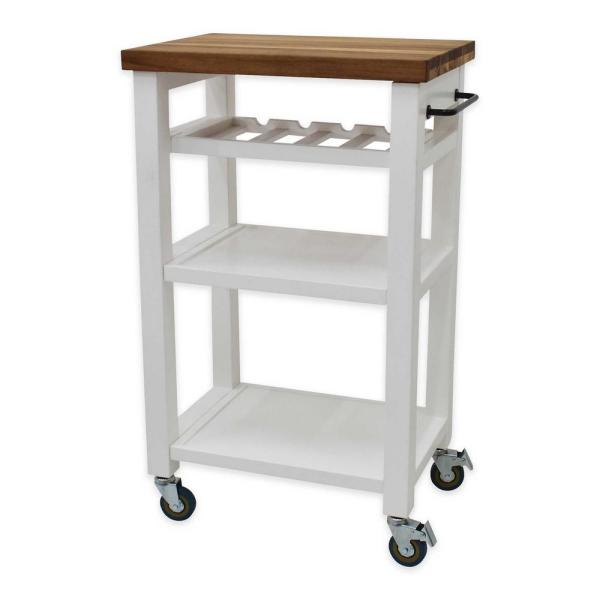 222 Fifth Belden White Kitchen Cart 7078WH651A1O08