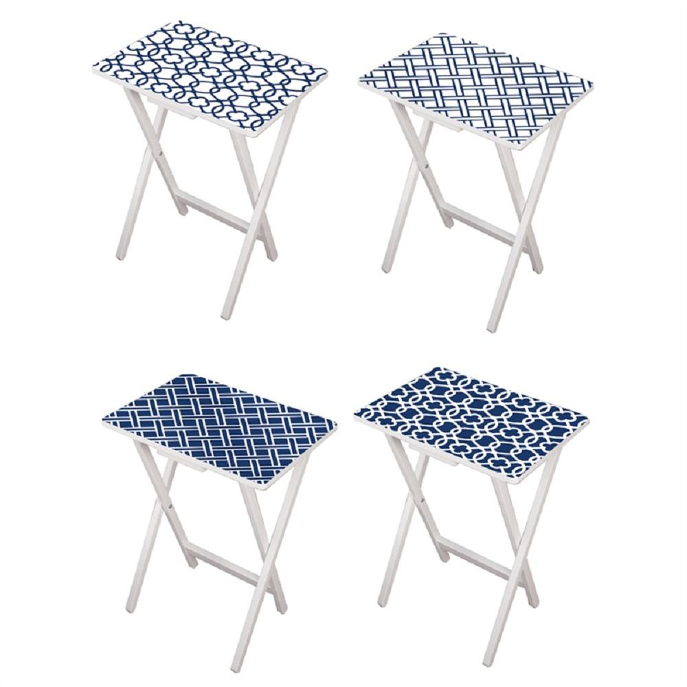 Cape Craftsman Mod Blue And White Tv Tray With Stand Set Of 4