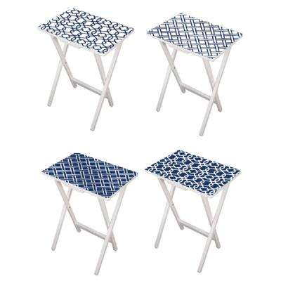 Mod Blue and White TV Tray with Stand (Set of 4)