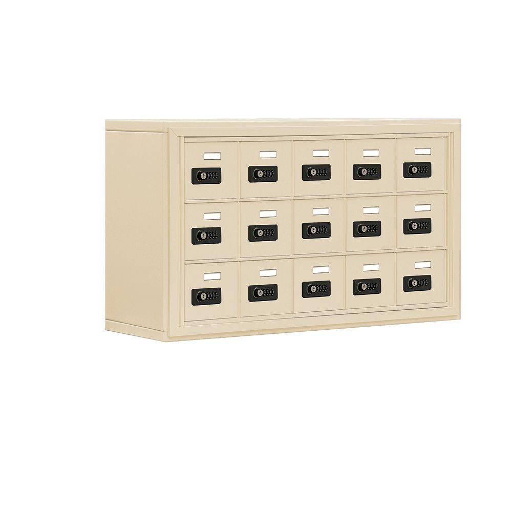 Salsbury Industries 19000 Series 37 in. W x 20 in. H x 9.25 in. D 15 A Doors S-Mount Resettable Locks Cell Phone Locker in Sandstone