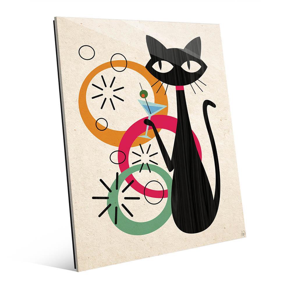 11 in. x 14 in. Retro Martini Cat Gamma Printed Acrylic Wall Art