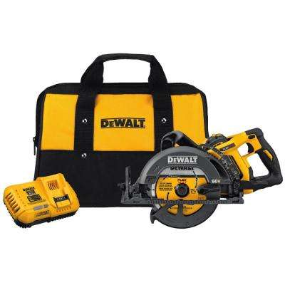 FLEXVOLT 60-Volt MAX Lithium-Ion Cordless Brushless 7-1/4 in. Wormdrive Style Circ Saw w/ Battery 3Ah, Charger and Bag