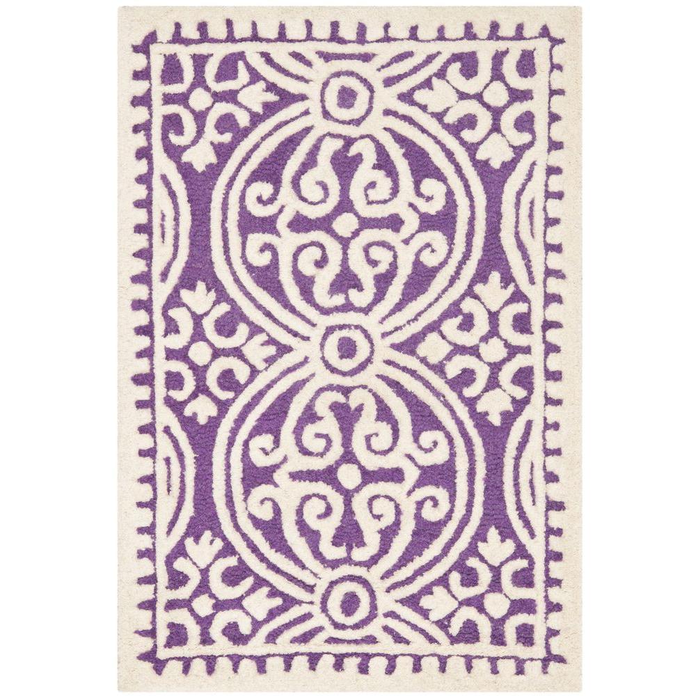 Purple Rug 2 Ft: Safavieh Cambridge Purple/Ivory 2 Ft. X 3 Ft. Area Rug