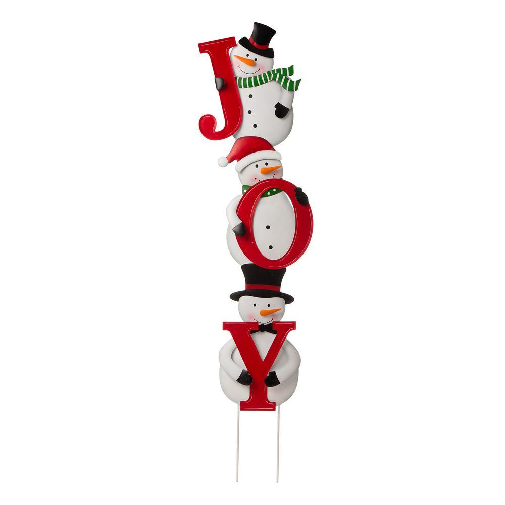 48.23 in. H Metal Vertical JOY snowman Yard Stake or horizontal Snowmen Family Stake (KD, Two Functions)