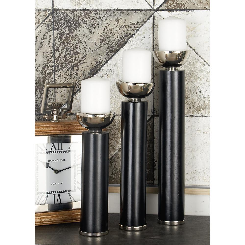 Litton Lane Polished Black Wood And Silver Aluminum Round Candle Holders With Cup Shaped Bobeche Set Of 3 51222 The Home Depot