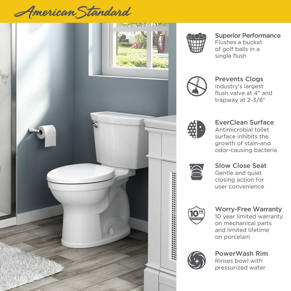 Strange American Standard Champion 4 Max Tall Height 2 Piece High Efficiency 1 28 Gpf Single Flush Elongated Toilet With Slow Close Seat In White Pdpeps Interior Chair Design Pdpepsorg