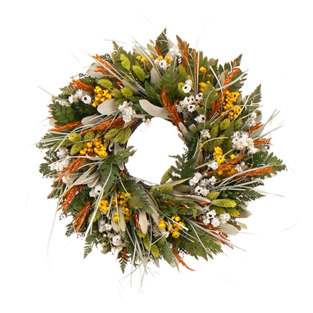 The Christmas Tree Company Wild Daisy Stroll 16 in. Dried Floral Wreath