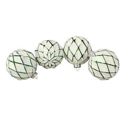 4 in. (100 mm) Emerald Green and White Rhombic Pattern Glass Christmas Ball Ornaments (4-Count)