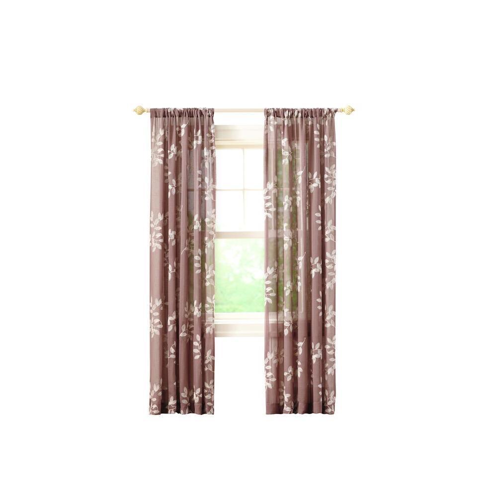 Leaf Embridery Rod Pocket Curtain