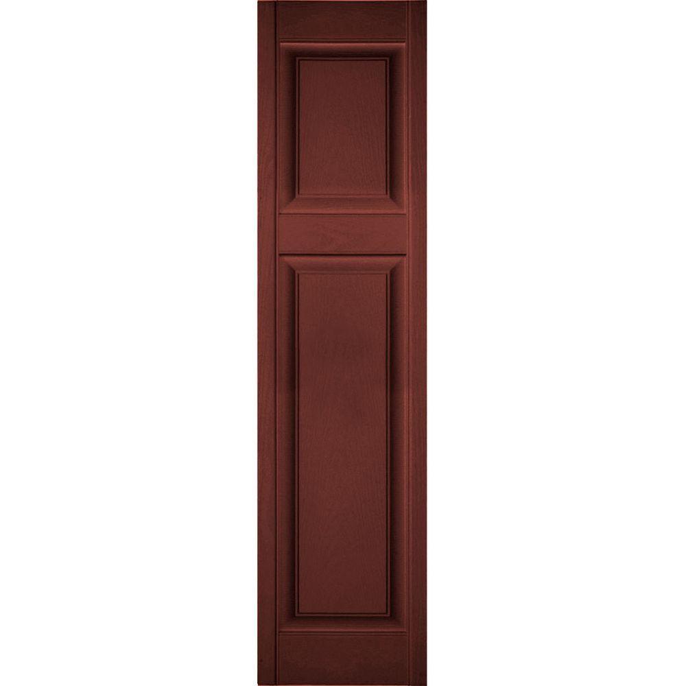 Ekena Millwork 14 1 2 In X 69 In Lifetime Vinyl Custom Offset Raised Panel Shutters Pair Burgundy Red Lp3c14x06900rd The Home Depot