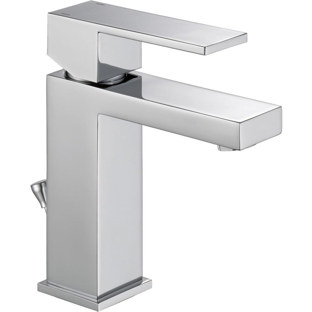 Modern Single Hole Single-Handle Bathroom Faucet in Chrome