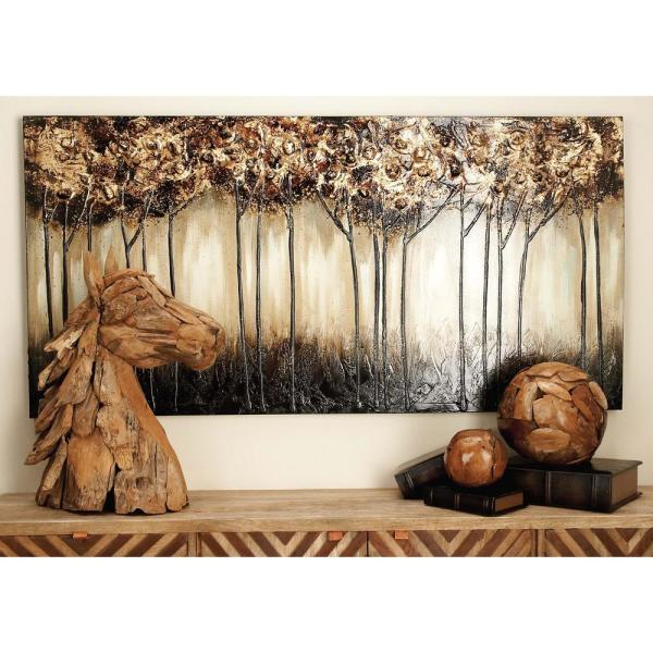 Litton Lane 30 in. x 60 in. ''Skinny Treescape'' Hand Painted