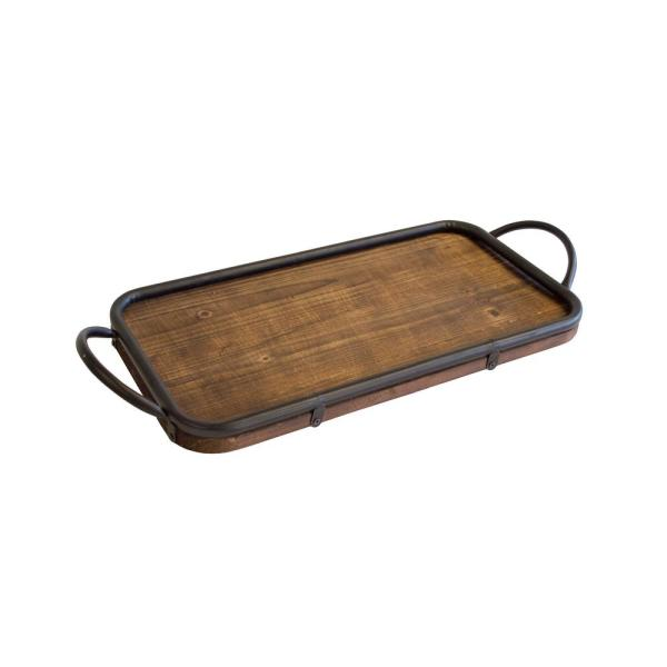 Os Home And Office Furniture Rustic Brown Trays With Decorative Metal Handles Set Of 2