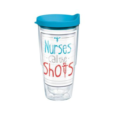 Nurses Call The Shots 24 oz. Double Walled Insulated Tumbler with Travel Lid