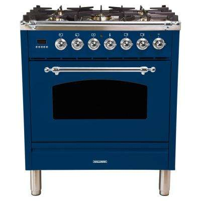 30 in. 3.0 cu. ft. Single Oven Dual Fuel Italian Range with True Convection, 5 Burners, LP Gas, Chrome Trim in Blue
