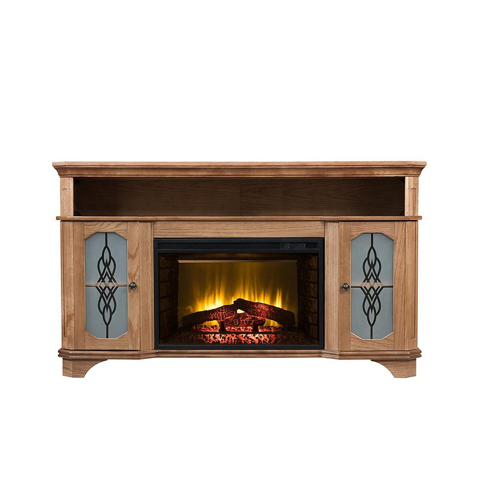 Bold Flame Incultior 57 in. Bluetooth Electric Fireplace TV Stand in Warm Teak