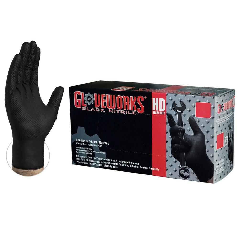 Gloveworks Gloveworks X-Large Diamond Texture Black Nitrile Industrial Powder-Free Disposable Gloves (100-Count), Adult Unisex