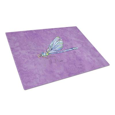 Dragonfly on Purple Tempered Glass Large Cutting Board