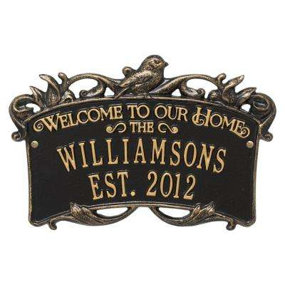 Songbird Welcome Rectangular Standard 2-Line Wall Anniversary Personalized Plaque in Black/Gold