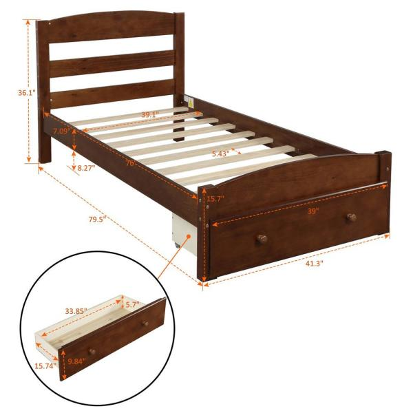 Boyel Living Walnut Wood Platform Headboard And Footboard Twin Bed Frame With Storage Drawer Ly Wf191655aad The Home Depot