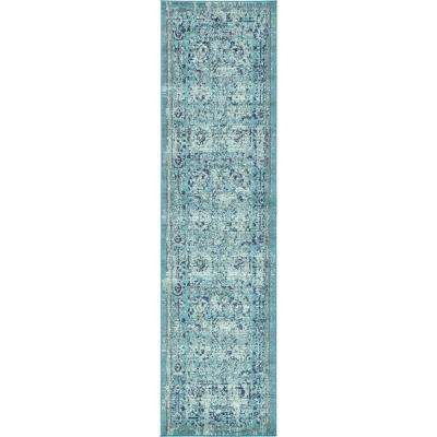 Medici Salamanca Light Blue 2' 7 x 10' 0 Runner Rug